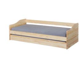 Malsu bed 90x200 cm met 1 uitschuifbed natuur.