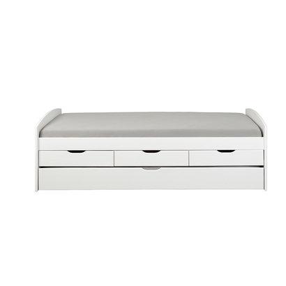 Riewo bed 90x200 cm met uitschuifbed wit.
