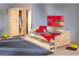 Hioshop Lotved bed 90x200 cm, 3 slaapplaatsen natuur.