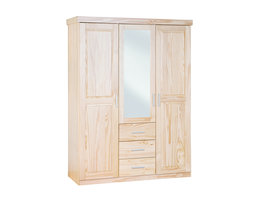 Cesika kledingkast 2 deuren, 1 spiegeldeur, 3 lades natuur.