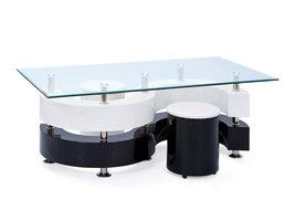 Hioshop Selas salontafel incl. 2 voetenbanken hoogglans, wit, zilverkleur.
