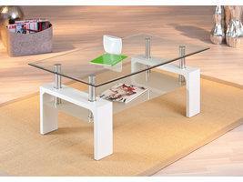 Aloma salontafel 1 glazen plank wit.