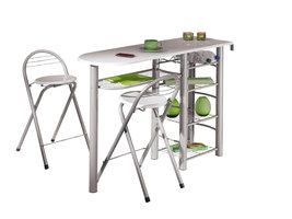 Hioshop Frifa bartafel voor de keuken, 5 planken incl. 2 stoelen wit.