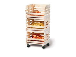 Hioshop Frula wandkast 3 bakjes voor fruit en groenten natuur.