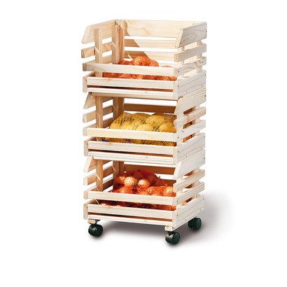 Frula wandkast 3 bakjes voor fruit en groenten natuur.