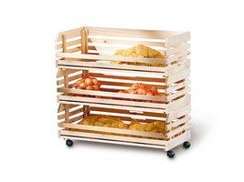 Hioshop Vegam wandkast 3 bakjes voor fruit en groenten natuur.