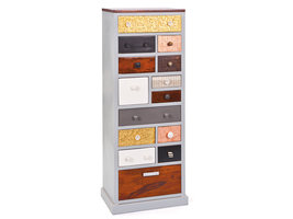 Hioshop Sarvir kommode 14 laden zilverkleurig, koper, goudkleurig, bruin, wit.