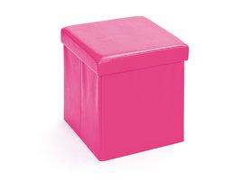 Hioshop Sanne opbergdozen voetenbank met deksel, roze.