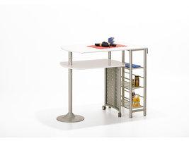 Hioshop Fitor bartafel voor de keuken, 3 planken wit, zilver.