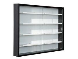 Collir vitrinekast voor wandmontage, 2 glazen deuren wit, zwart.
