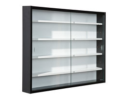 Comit vitrinekast voor wandmontage, 2 glazen deuren wit, zwart.