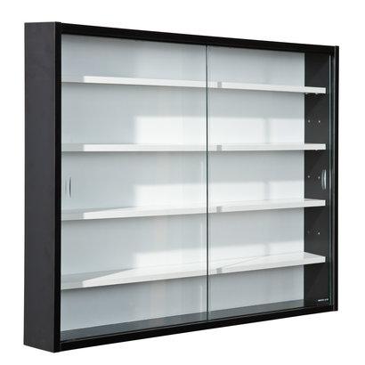 Hioshop Collir vitrinekast voor wandmontage, 2 glazen deuren wit, zwart.