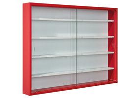 Hioshop Collir vitrinekast voor wandmontage, 2 glazen deuren wit, rood.