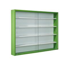 Hioshop Collir vitrinekast voor wandmontage, 2 glazen deuren wit, groen.