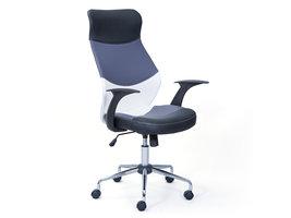 Hioshop Livno kantoorstoel zwart, grijs, wit, chroom.