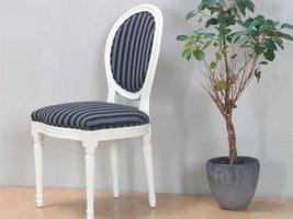 Hioshop Rokoko/Amaretta eetkamerstoel, in antiek wit met zwart gestreepte stof.