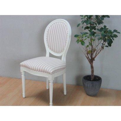 Hioshop Rokoko/Amaretta eetkamerstoel, in antiek wit met beige gestreepte stof.