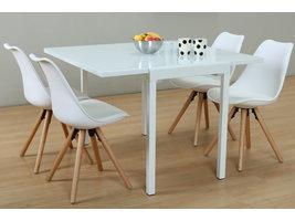 Hioshop Lima eethoek 90x55/111 cm wit met 4 witte Nelle stoelen.