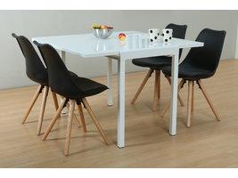Hioshop Lima eethoek 90x55/111 cm wit met 4 zwarte Nelle stoelen.