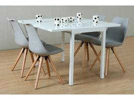 Hioshop Lima eethoek 90x55/111 cm wit met 4 grijze Nelle stoelen.