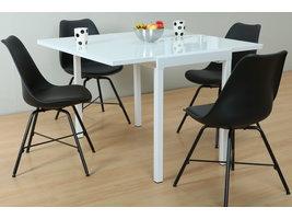 Hioshop Lima eethoek 90x55/111 cm wit met 4 zwarte Niko stoelen.