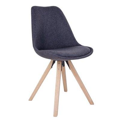 Benno eetkamerstoel, kuipstoel in donkergrijze stof met houten poten.