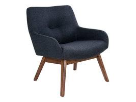 Lone fauteuil in donkergrijs met walnoothouten poten.