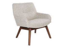 Norrut Lone fauteuil in zandkleur met walnoothouten poten.