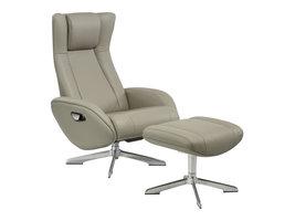 Norrut Rima fauteuil incl. voetenbank, lichtgrijs echt leer.