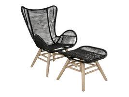 Norrut Heff fauteuil incl. voetenbank, zwart, naturel.