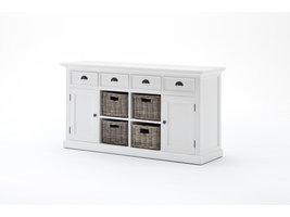 Halifax dressoir met 2 deuren, 4 rotan manden en 4 lades, in wit.