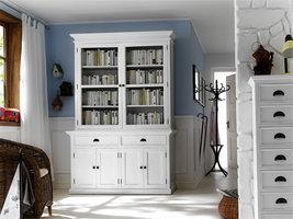 Hioshop Halifax dressoir met 2 glazen deuren, 2 lades en 4 deuren, in wit.