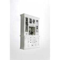 Hioshop Halifax vitrinekast met 4 glazen deuren en diverse lades en deuren, in wit.