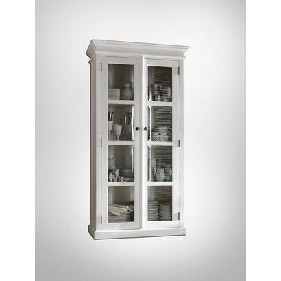 Hioshop Halifax vitrinekast met 2 glazen deuren, in wit.