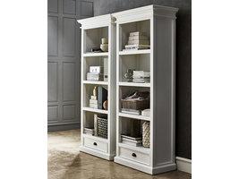 Hioshop Halifax boekenkast met planken en 1 lade, in wit.
