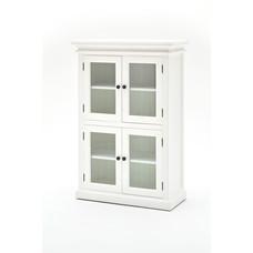 Hioshop Halifax vitrinekast met 4 glazen deuren, in wit.