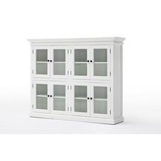 Hioshop Halifax vitrinekast met 8 glazen deuren, in wit.