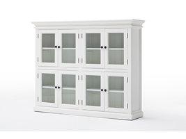 Halifax vitrinekast met 8 glazen deuren, in wit.