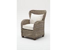 Queen fauteuil met kuip, naturel, rotan grijs.