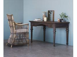 Hygge bureau met 2 lades, in donker teak hout.