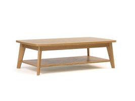 Hioshop Kanny salontafel met afgeronde hoeken en 1 plank, in eikenfineer en massief eiken.