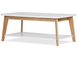 Kanny salontafel met afgeronde hoeken en 1 plank, in wit en massief eiken.