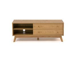 Hioshop Kanny tv meubel met 2 planken en 2 lades, in eikenfineer met massief eiken poten.