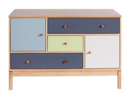Hioshop Abone dressoir met 3 lades en 2 deuren in verschillende kleuren, eikenfineer en massief eiken poten.