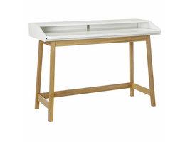 Hioshop Steem bureau met uitschuifbaar blad, in wit en eiken.