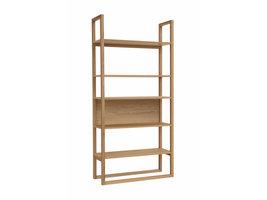 Hioshop Neem boekenkast met 4 vaste en 1 losse plank, in eiken.
