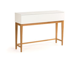 Hioshop Blance side table met 1 lade, in wit met massief eiken poten.
