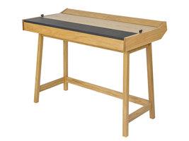 Hioshop Brome bureau met kleine opbergruimtes onder het blad, in zwart en eiken.