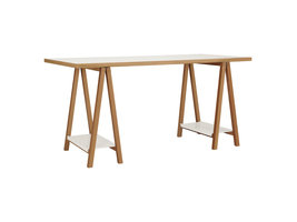 Hioshop High bureau met 2 planken, in wit en eiken.