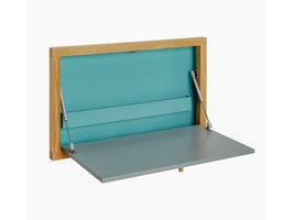 Hioshop Brince bureau voor wandmontage met 1 stalen plank, in grijs, blauw en eiken.